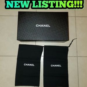CHANEL EMPTY SHOE BOX AND DUST BAGS